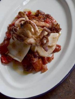 Universal: Mark serves his peperonata sauce with squid (Jason Lowe)