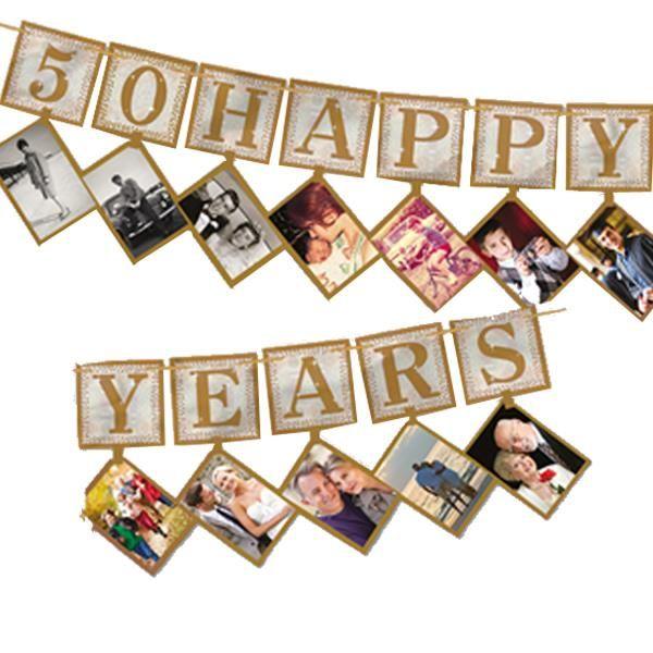 Me encanta esta idea para unas bodas de oro! Guirnalda 12 Fotos Felices 50 Años /10552-guirnalda-12-fotos-felices-50-anos.html