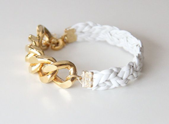 Gold Extra chunky chain with White leather braid by TheUrbanLady: Chains, Braids, White Leather, Extra Chunky
