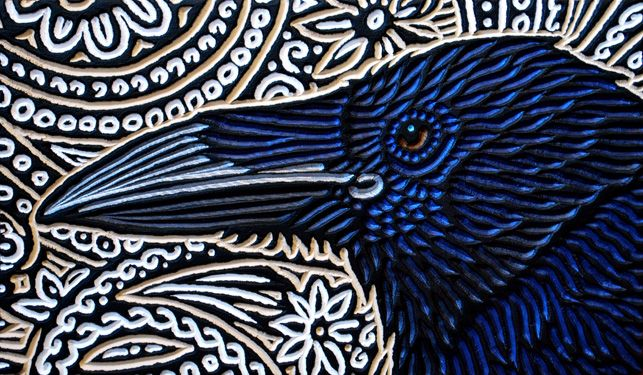 Lisa Brawn, Raven profile, woodcut
