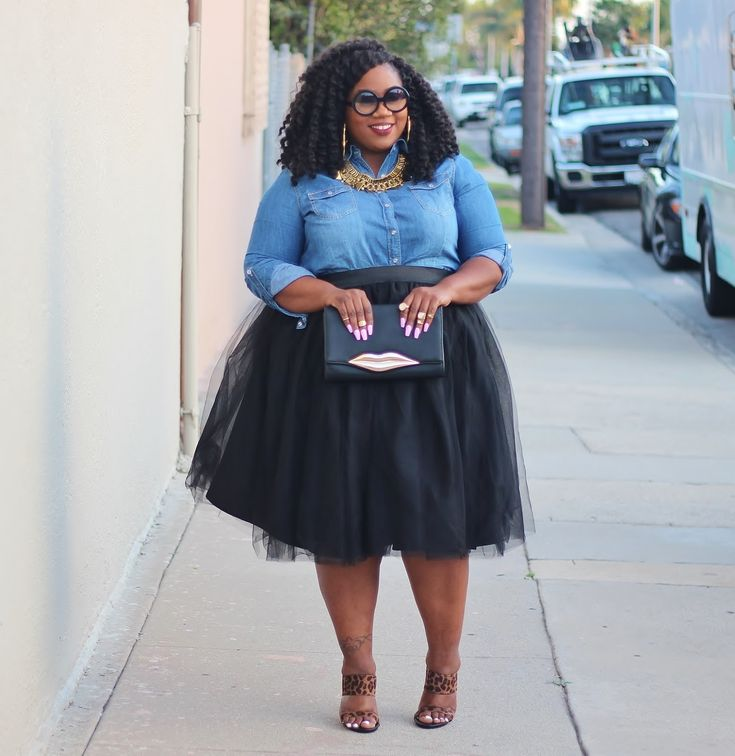 denim shirt tutu and leopard heels plussized fashion