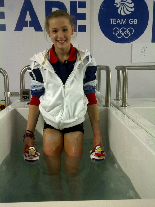 The fun way to have an ice bath: bring international rubber duckies (pengiuns?).  (Rebecca Tunney)
