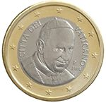 €1 Vaticaanstad, dit is paus Franciscus.