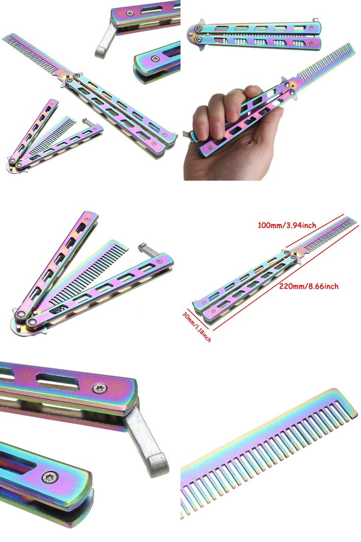 [Visit to Buy] High Quality Rainbow Color Stainless Steel Folding Butterfly Balisong Comb Cool Practice Training Metal Hair Care & Styling Tool #Advertisement