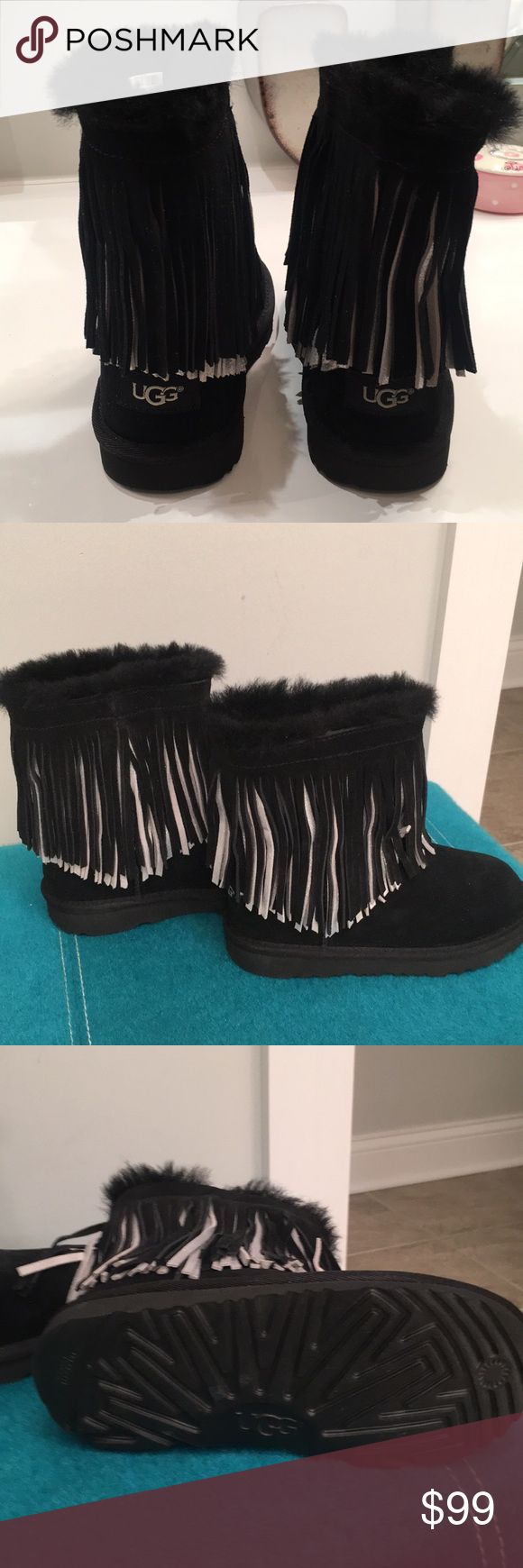 Girls ugg boots Girls NWT silver and black fringe authentic ugg boots. No box. UGG Shoes Boots