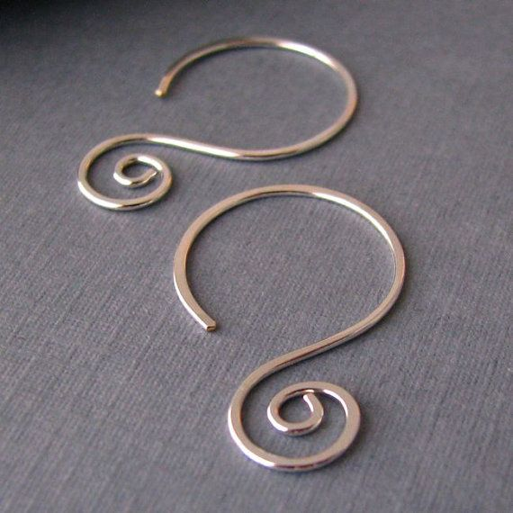 Interchangeable Hoop Earring Findings, Silver Filled Swirly Swinger Ear Wires, Handmade Jewelry Findings