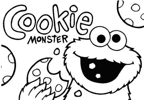 Cookie Monster Coloring Pages Offer Simple Toddler And Preschool