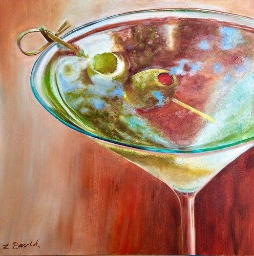 Shaken, Not Stirred, 10 x 10 Oil on Ampersand, by artist Lisa David For sale on Etsy Shop  https://www.etsy.com/listing/525608018/martini-glass-shaken-not-stirred-oil?ref=pr_shop