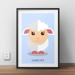 Pastelowy plakat dla dzieci z małą owieczką do powieszenia na ścianie pokoju dziecka