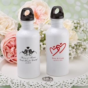 Silkscreened Metal Water Bottle Wedding Favors (FashionCraft 6771S) | Buy at Wedding Favors Unlimited (http://www.weddingfavorsunlimited.com/silkscreened_metal_water_bottle_wedding_favors.html).