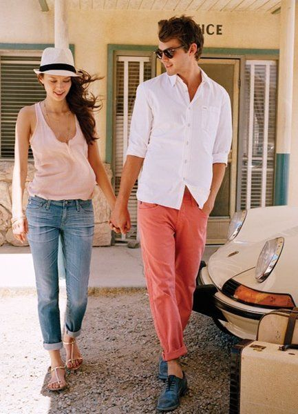 pantalones de todos los colores: Coral Pants, Men Jeans, Summer Style, Guys Style, Cute Outfits, Men Fashion, Boyfriends Jeans, Red Pants, Spring Style