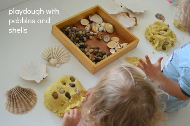"""Play dough with pebbles & shells from Two Of Everything ("""",)"""