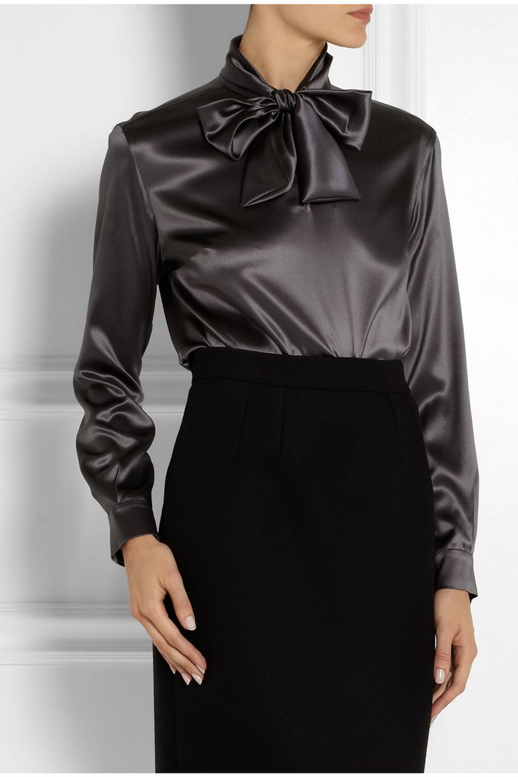 Dolce & Gabbana|Pussy-bow stretch-silk satin blouse|NET-A-PORTER.COM