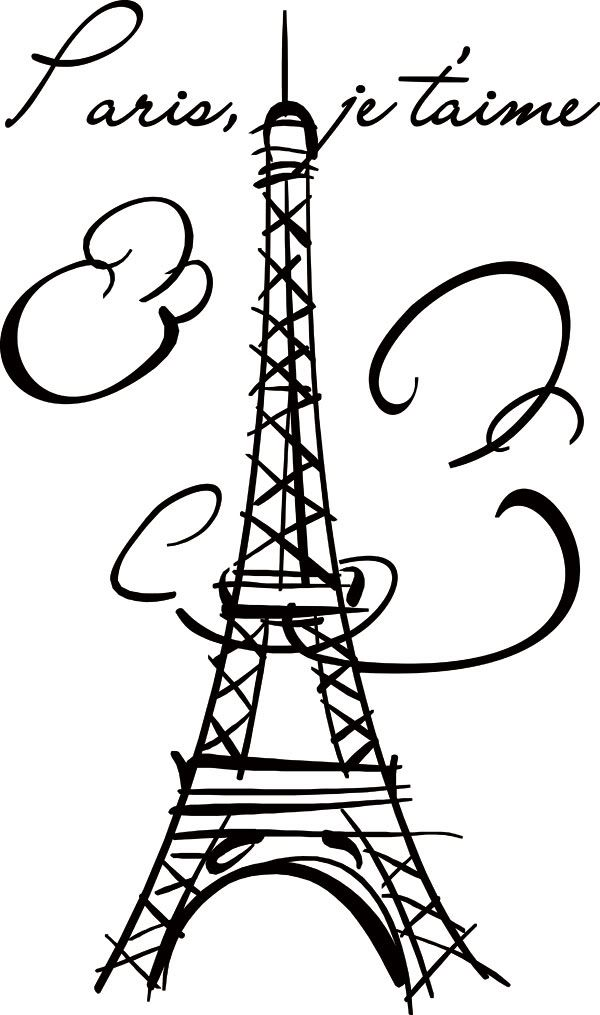 Eiffel Tower Paris Vinyl Wall Decals Stickers Art