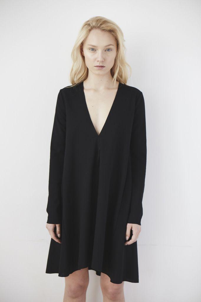 girl black dress v-neck new brand the odder side