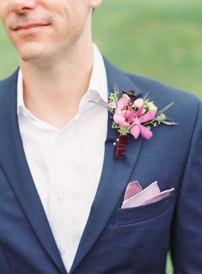 Orchid boutonniere: http://www.stylemepretty.com/2015/01/05/berry-colored-oahu-wedding/ | Photography: Great Romance - http://thegreatromancephoto.com/