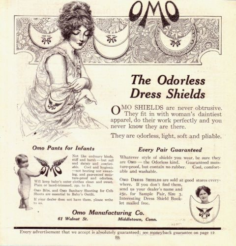 1913 OMO Original Print Ad Women Odorless Sanitary Dress Shields Infant Pants   eBay
