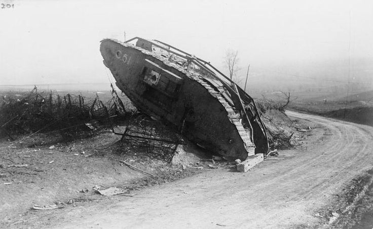 BATTLE CAMBRAI 20-30 NOVEMBER 1917 (Q 45410)   British Mark IV Female Tank 'C 51' ('Chaperone') of No. 9 Company, 'C' Battalion, abandoned at the roadside near Le Pave on the approach to Lateau Wood.
