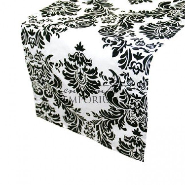 Black & White Damask Table Runner, Enchanted Emporium