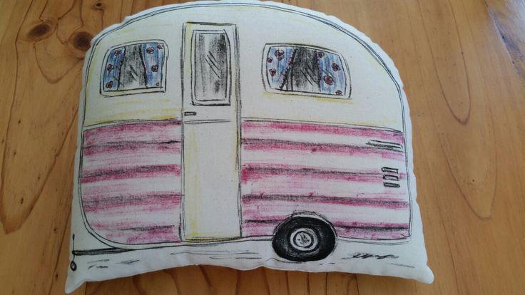 Vintage Caravan hand drawn cushion