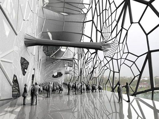 It may sound a bit creepy, but wouldn't it be cool if buildings could grow their own skin? California-based architecture firm Faulders Studio certainly thinks so. GEOtube, their proposal for Dubai is almost exactly like a normal building – except for the fact that it will have the ability to generate a web-like saline skin that spreads down the façade of the structure over time.