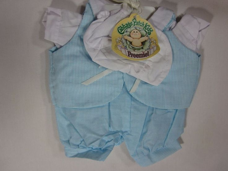 Vintage Cabbage Patch Doll Baby Boy Preemie Blue Outfit with hat and hanger #CabbagePatchKids #ClothingAccessories