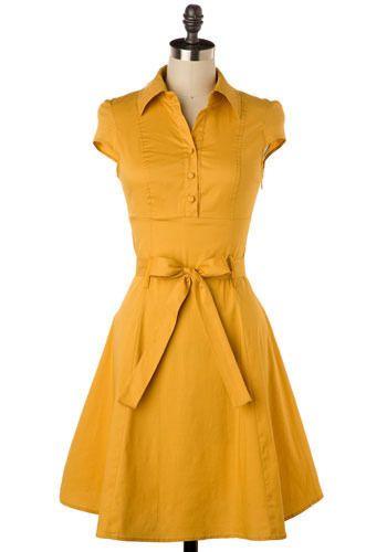Mustard belted dress