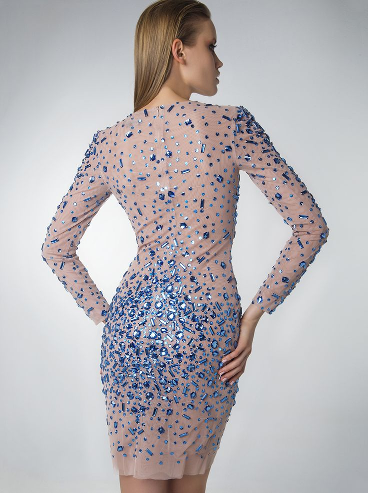 Evening short dress with beading and sleeves!  http://www.mikael.gr/en/new-collection/80946.html