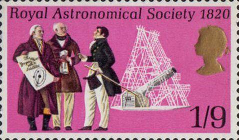 General Anniversaries 1s9d Stamp (1970) Sir William Herschel, Francis Baily, Sir John Herschel and Telescope