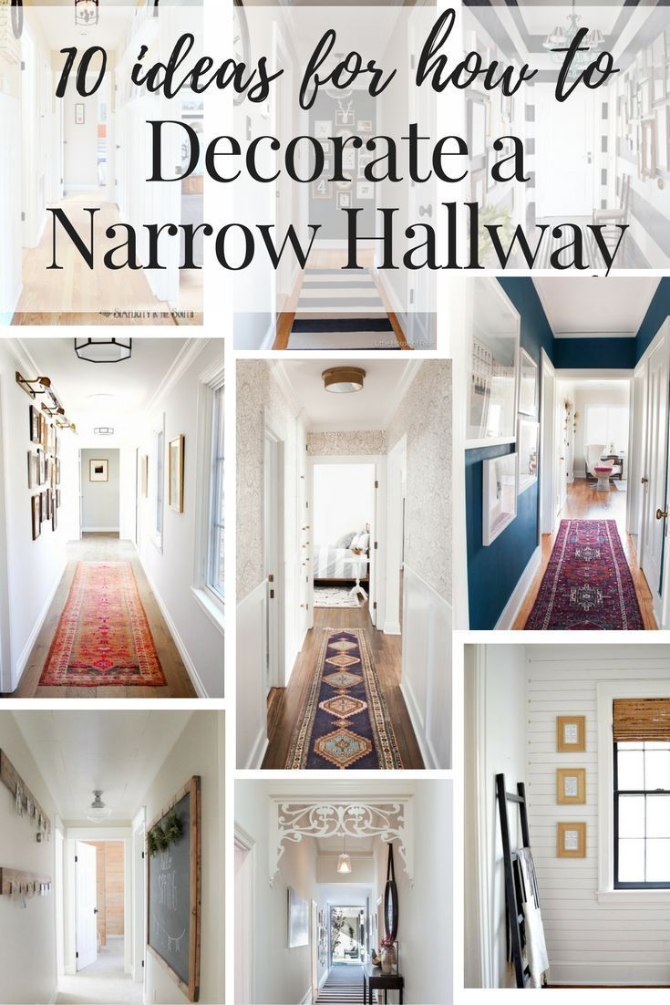 Inspiration and ideas on how to decorate your narrow hallways! This post  rounds up 10