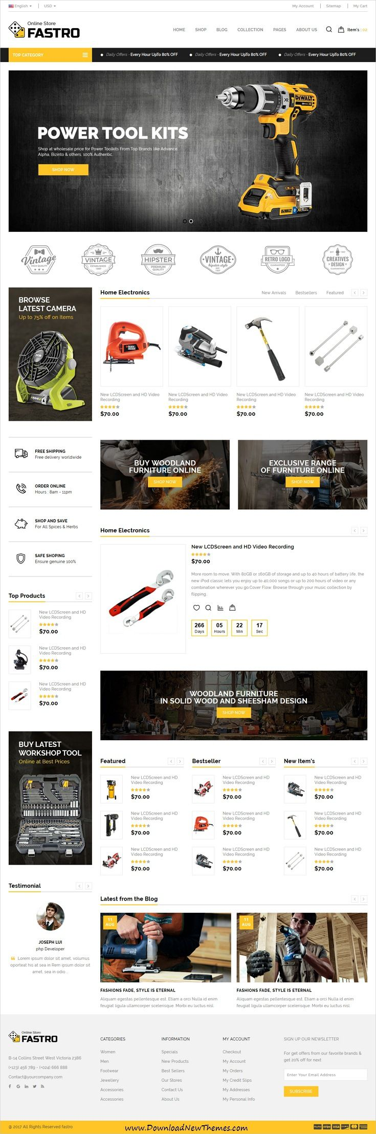 Fastro is clean and modern design responsive #bootstrap template for #tools shop #eCommerce website with 6 niche homepage layouts download now..