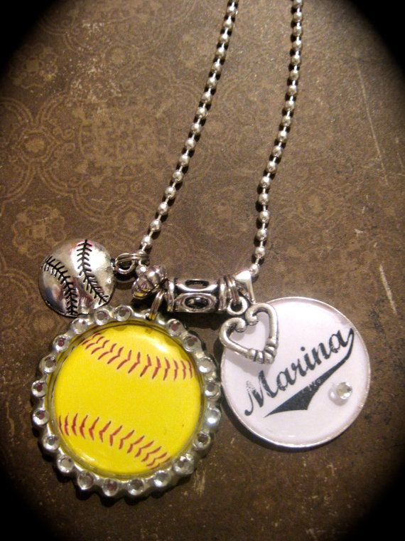 PERSONALIZED Softball Necklace by ItsAllEmbellished on Etsy, $16.00