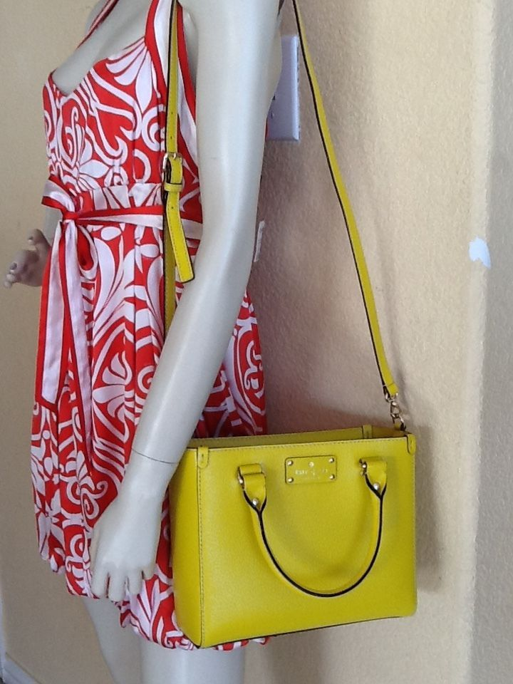 Nwt Kate Spade Yellow Wellesley Small Quinn Leather Crossbody Tote Bag Satchel Katespade Messengercrossbody For Misty And The Twins Pinterest