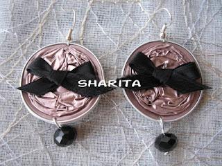 Nespresso caps earrings with black bows and crystal beads