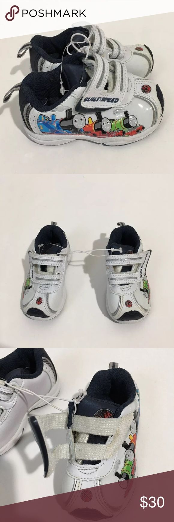 NWOT Thomas & Friends Train White Sneakers Toddler New without tags Boy's Thomas & Friends train sneakers with hook and loop fastener. Toddler Size 4 Brand New Never Worn Without Box Thomas & Friends Shoes Sneakers