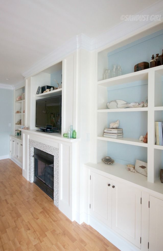 Fireplace wall built ins loving this except i would do for Bookcases next to fireplace