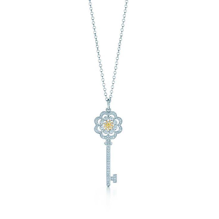ティファニー キー ローズ キー ペンダント イエローダイヤモンド プラチナ 18Kゴールド