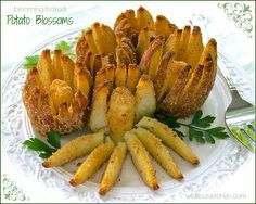 Blooming Baked Potato Blossoms (uses an apple slicer)