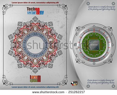 Abstract technology background; Processor Chip on metallic device nailed on steel board with screws; Ornamental arabesques frames and arabesque rosette/mandala on scratched metallic background.  - stock vector