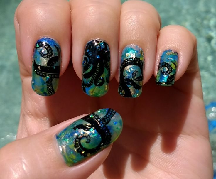 The 25 best octopus nails ideas on pinterest nautical nails octopus nail art tentacles prinsesfo Image collections