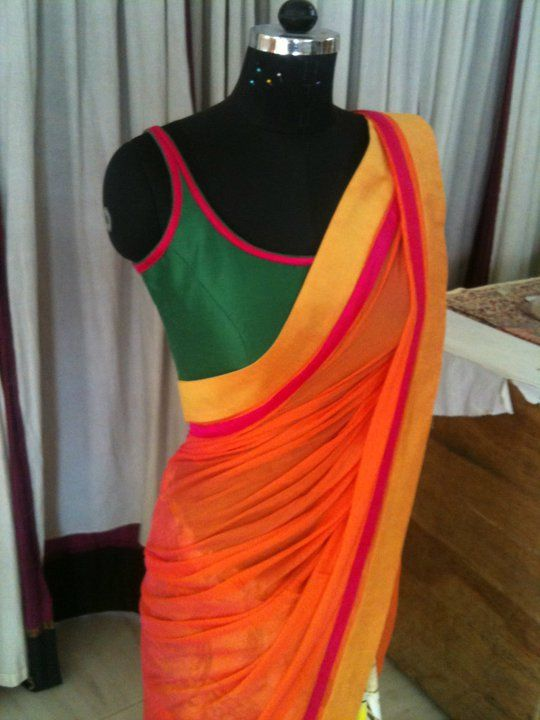 sleeveless saree blouse design