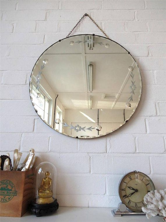 Vintage Large Round Bevelled Edge Art Deco Wall Mirror