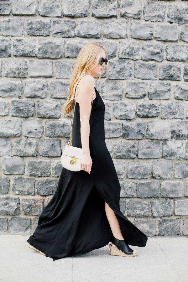 black maxi dress + chloe bag