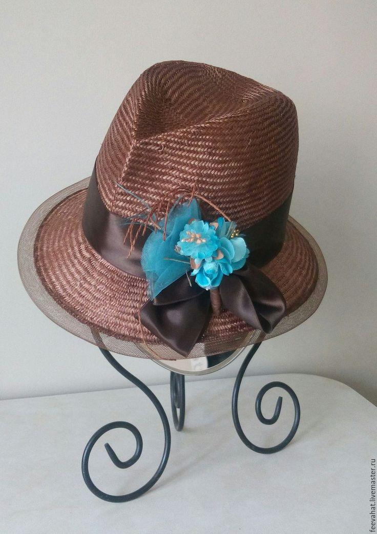 """Купить Соломенная шляпа """"Коричневый и бирюзоаый"""" - коричневый, однотонный, белый, светло-коричневый, кофейный"""
