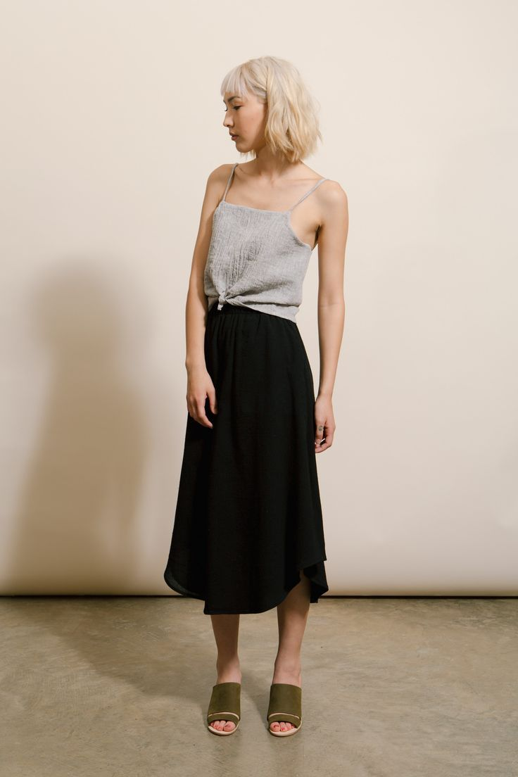 Split Hem Tank + Swing Tie Skirt