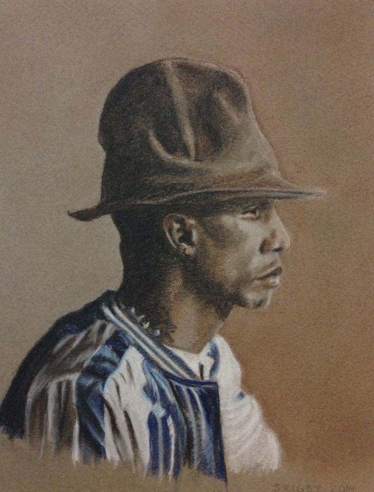 Pharrell Williams - pastels August 2014. From a photo by Jason Joyce.