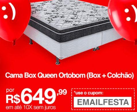 Cama Box Queen (Box  Colchão) Ortobom Romanzza Spring Molas Nanolastic Ortopillow << R$ 64999 em 10 vezes >>