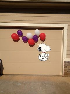 Planning for a Snoopy Birthday Party. AWESOME idea, and Parker would love to have it hanging in his room after the party.