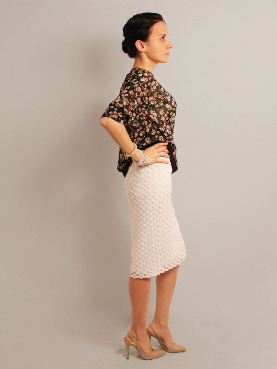 white pencil skirt lace skirt white skirt knee length by Anaoiss