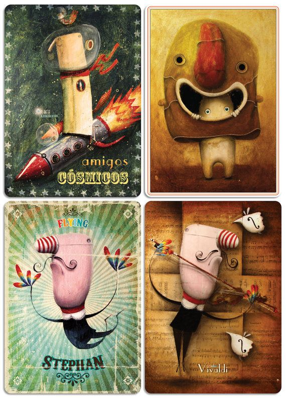 retro vintage cards collection high quality by ArtRobertRomanowicz